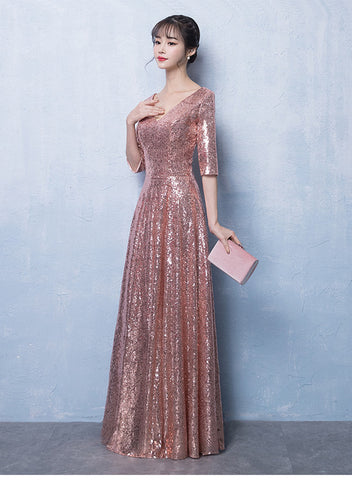 Beautiful Pink Sequins Long Formal Dress, Pink Party Dress 2020