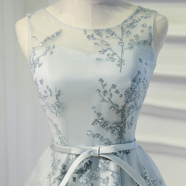 Lovely Grey Lace Knee Length Party Dress, Grey Homecoming Dress