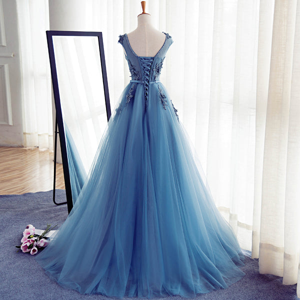 Elegant Handmade Blue A-line Long Prom Dress with Lace Applique, Evening Dresses