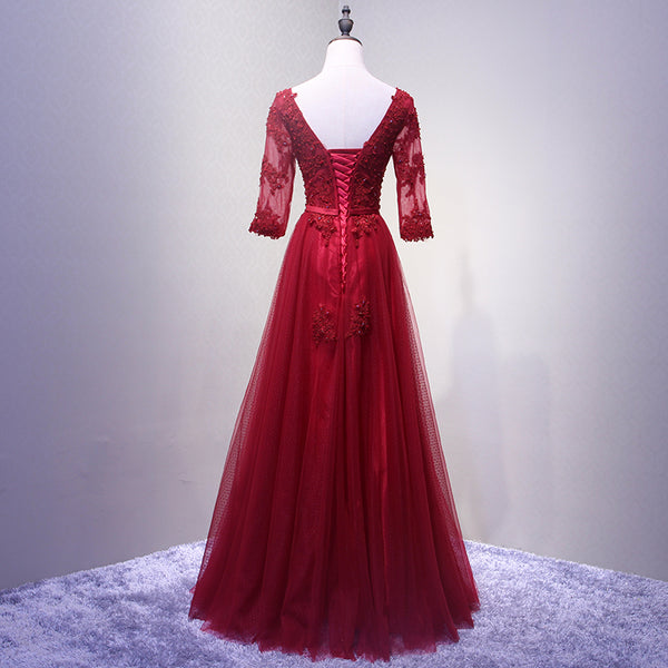 Charming Wine Red Short Sleeves Lace Applique Wedding Party Dress, Beautiful Formal Gown 2019