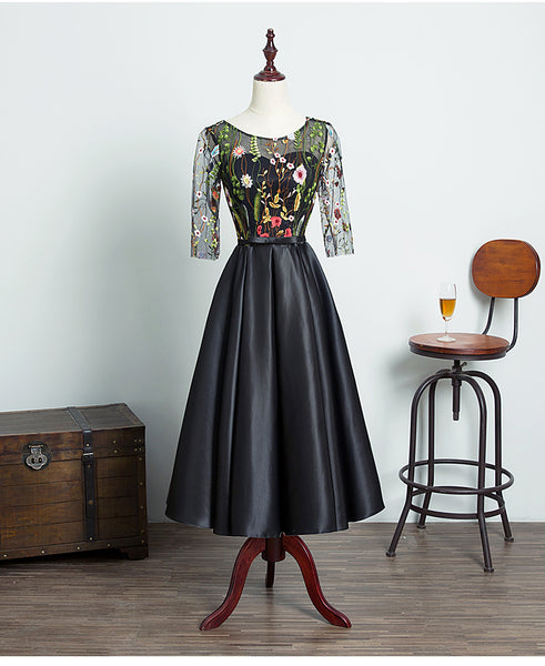 Lovely Black Satin with Floral Lace Top Briedesmaid Dress, Short Homecoming Dress