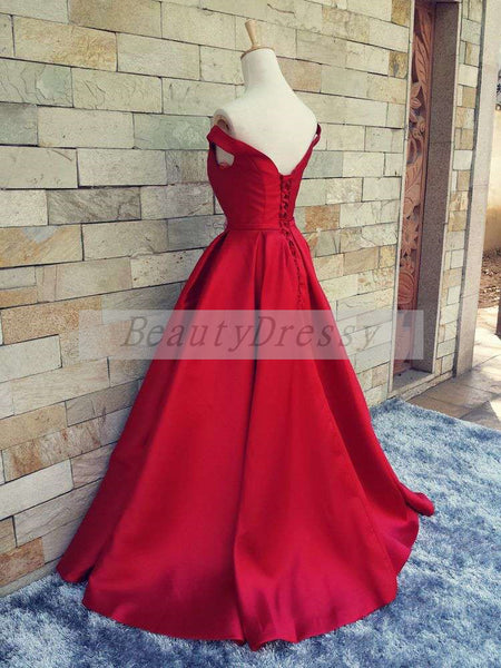 Red Off Shoulder Satin Long Formal Gown, Red Junior Prom Dress 2019