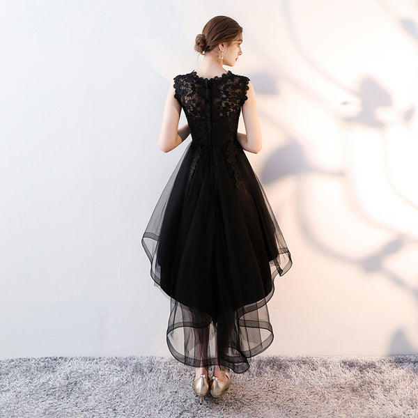 Black Tulle Round Neckline High Low Party Dress, Black Homecoming Dress