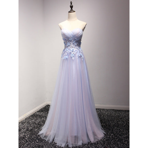 Light Blue and Purple Charming Sweetheart Lace Party Dress 2019, Formal Dress 2019, Formal Gowns 2019
