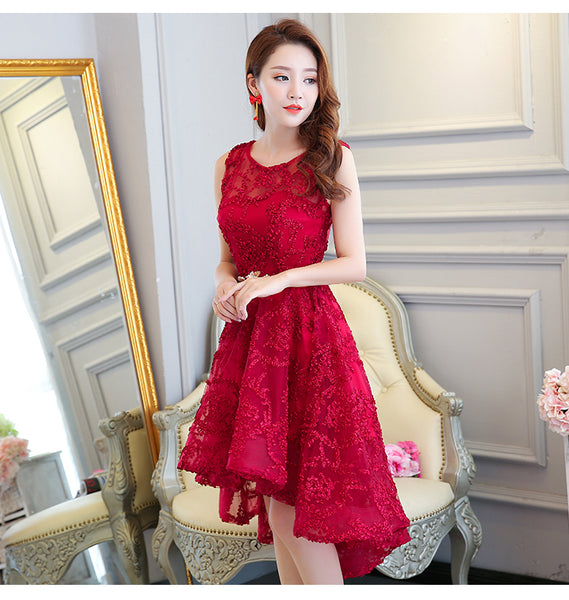 Beautiful Dark Red High Low Party Dress, Charming Homecoming Dress