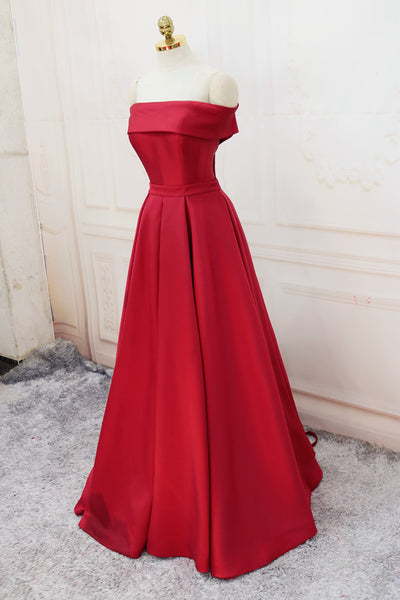 Off Shoulder Satin Elegant Long Prom Dress 2019, Simple New Style Formal Gown