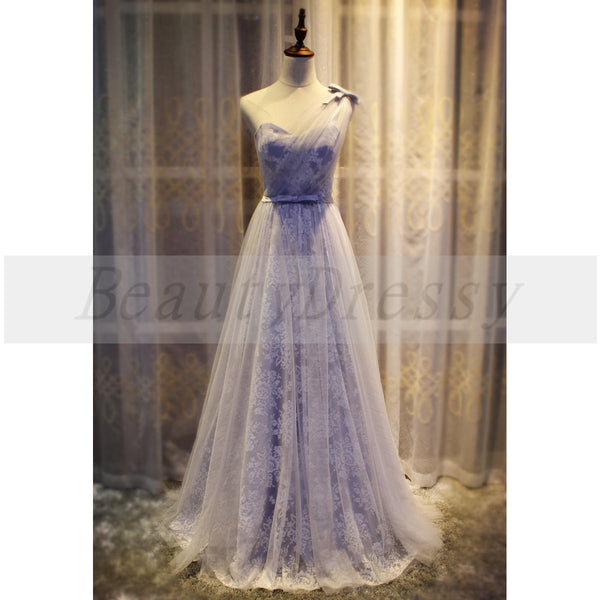 One Shoulder Tulle and Lace Bridesmaid Dress, Elegant Formal Dress, Charming Party Gown 2019