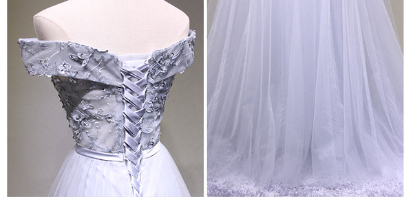Grey Off Shoulder Party Dress, Beautiful Elegant Prom Dress 2019, Junior Party Dress