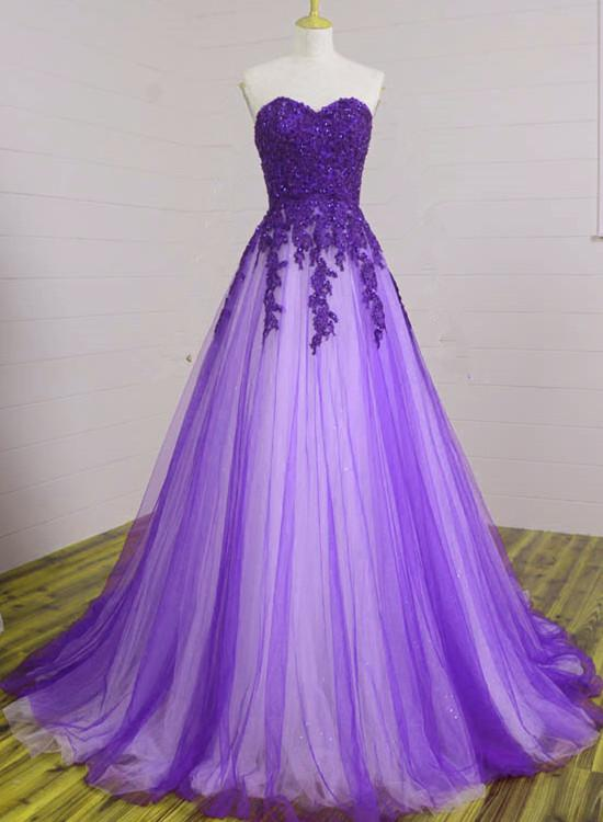 Purple Tulle Sweetheart Long Formal Gown, Beautiful Sweet 16 Dress