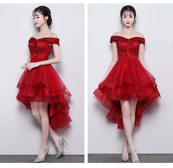 Fashionable High Low Party Dress, Red Off Shoulder Homecoming Dress 2019