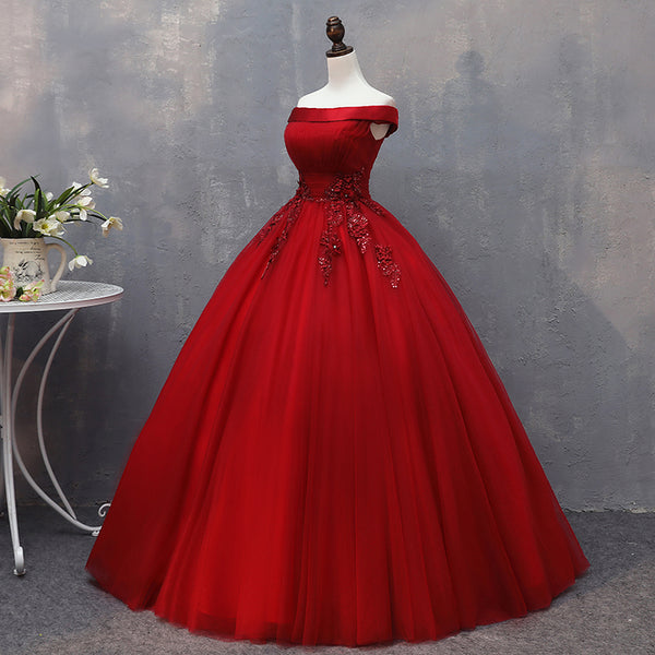 Dark Red Tulle Ball Gown Sweet 16 Dress with Lace, Red Party Dresses