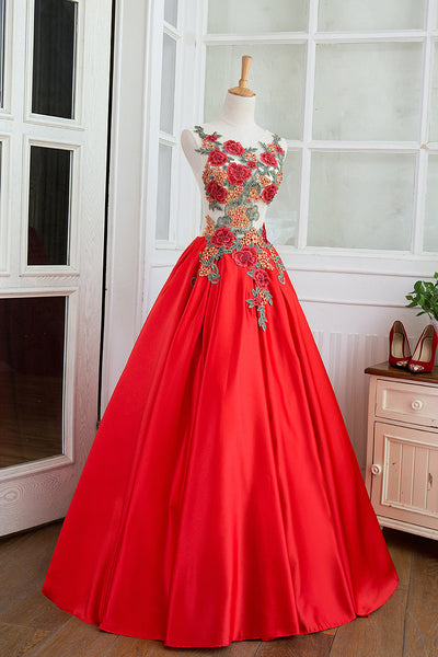 Beautiful Red Satin Ball Gown Dress with Flower Embroidery, Red Sweet 16 Dress
