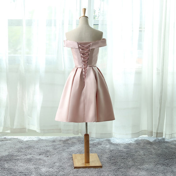 Pink Satin Party Dress 2019, Off Shoulder Short Homecoming Dress
