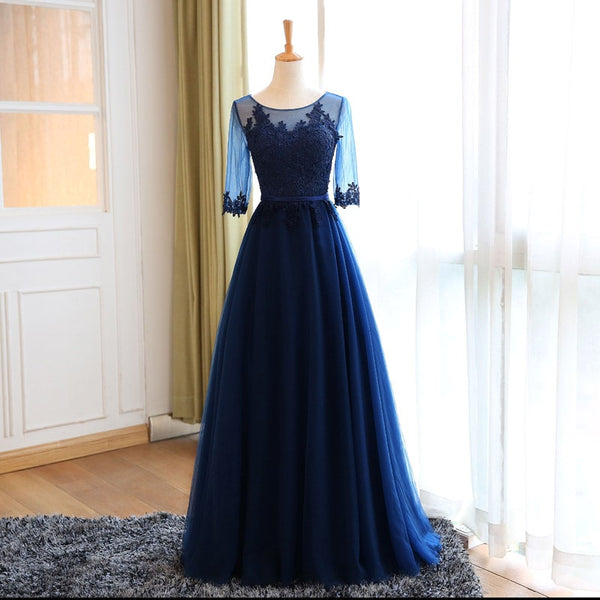 Beautiful Navy Blue Bridesmaid Dress 2019, 1/2 Sleeves Party Dress