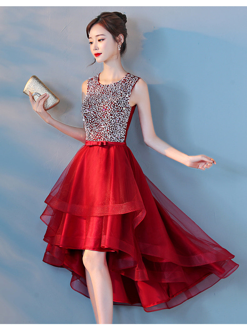 Beautiful Red Sequins High Low Homecoming Dress, Red Short Party Dress