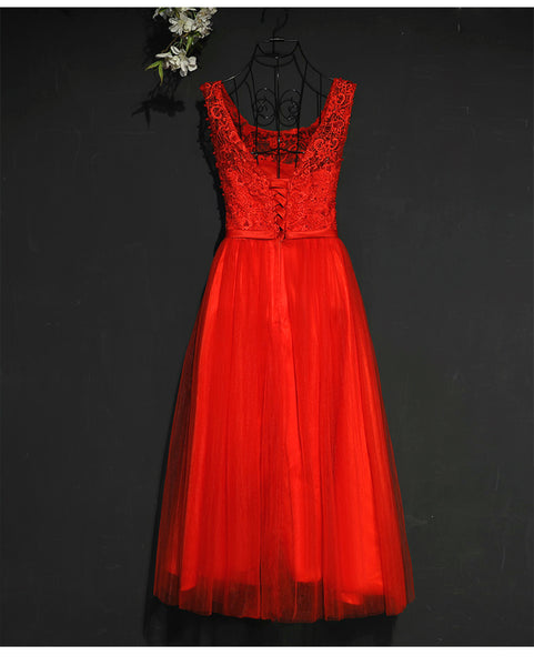 Pretty Red Tulle and Lace Tea Length Party Dress, Red Bridesmaid Dress