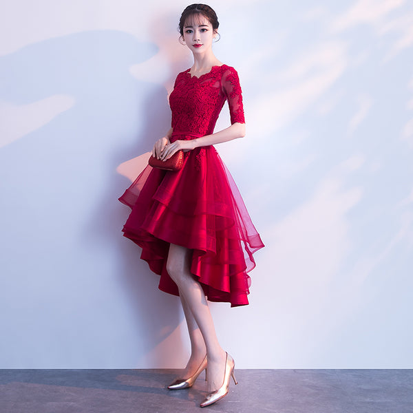 Elegant High Low Wine Red Shor Sleeves Party Dress 2020, Homecoming Dress