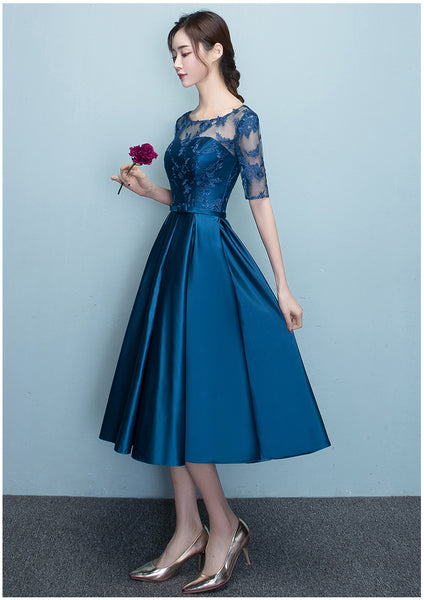 Lovely Blue Short Sleeves Lace and Satin Party Dress, Blue Homecoming Dresses 2020
