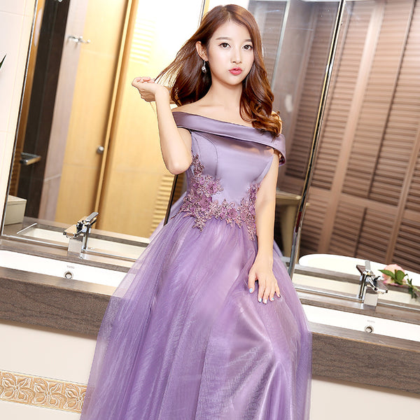 Beautiful Purple Long Party Gown 2020, Off Shoulder Prom Dress