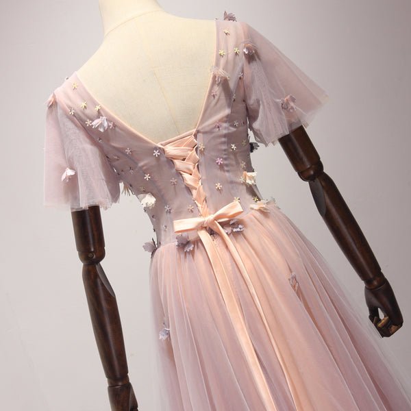 Pink Short Sleeves Tulle Flowers Lace-up Senior Prom Dress, Beautiful Floral Gown
