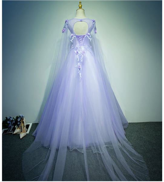 Charming Light Purple Flowers Tulle Long Formal Gown, Evening Dress