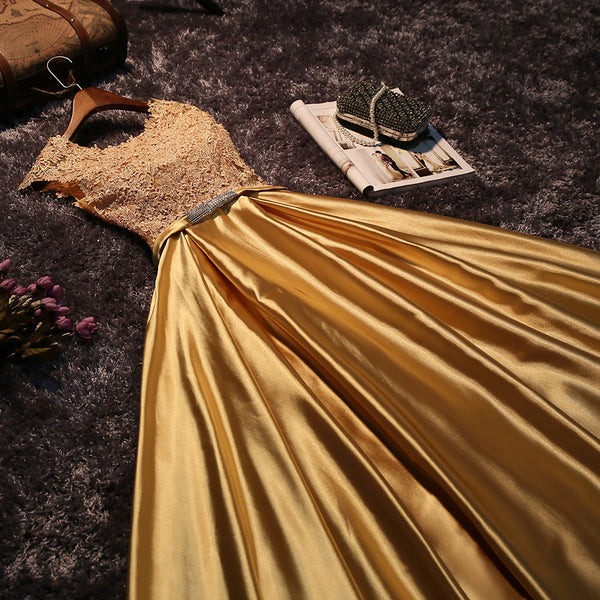 Beautiful Gold Satin Long Prom Dress with Lace, A-line Formal Dress