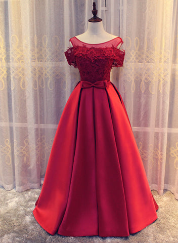 Red Satin Long Prom Dress 2019, Charming Formal Gown, Handmade Party Dress 2019