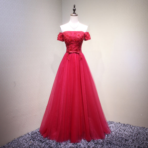 Charming Red Off Shoulder Floor Length Formal Dress, Red Party Dresses 2019