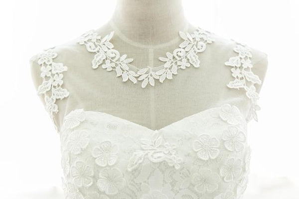 Cute White Lace Round Neckline Homecoming Dress, Short Party Dress