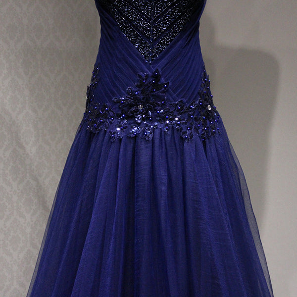 Navy Blue Sequins Tulle Formal Dress, Handmade Party Dresses 2019
