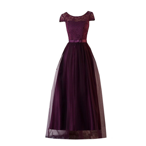 Purple Lace and Tulle Long Bridesmaid Dress, Beautiful Wedding Formal Dresses