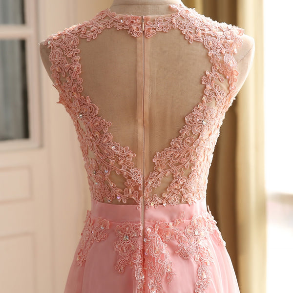Pink Chiffon Long Party Dress 2019, Pink Prom Dress with Lace Applique