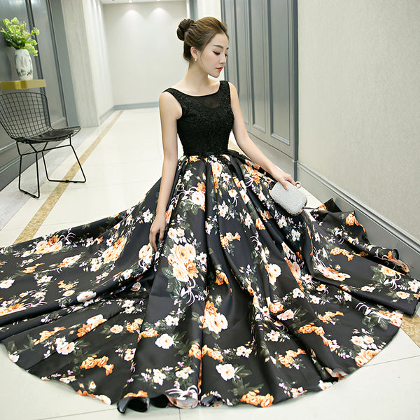 Fashionable Satin and Lace Long Floral Black Prom Dress, Party Dress 2020