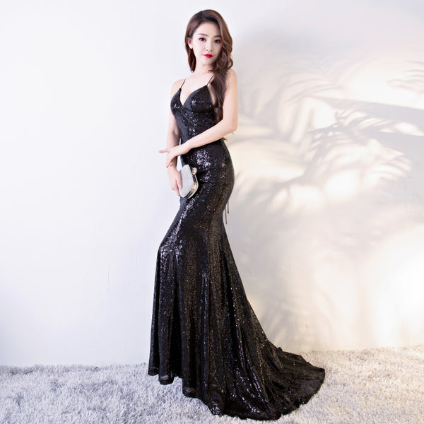 Sexy Black Sequins Backless Mermaid Prom Dress, Black Bridesmaid Dress