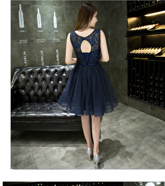 Lovely Navy Blue Knee Length Beaded Party Dress, Round Neckline Homecoming Dress