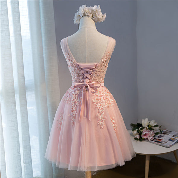 Cute Pink Short V-neckline Party Dress, Pink Tulle Prom Dress 2020