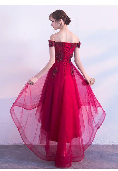 Beautiful Wine Red Off Shoulder New Prom Dress, Junior Prom Dress
