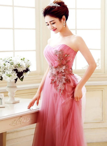 Elegant Pink Sweetheart A-line Tulle Prom Dress with Lace, Pink Bridesmaid Dress