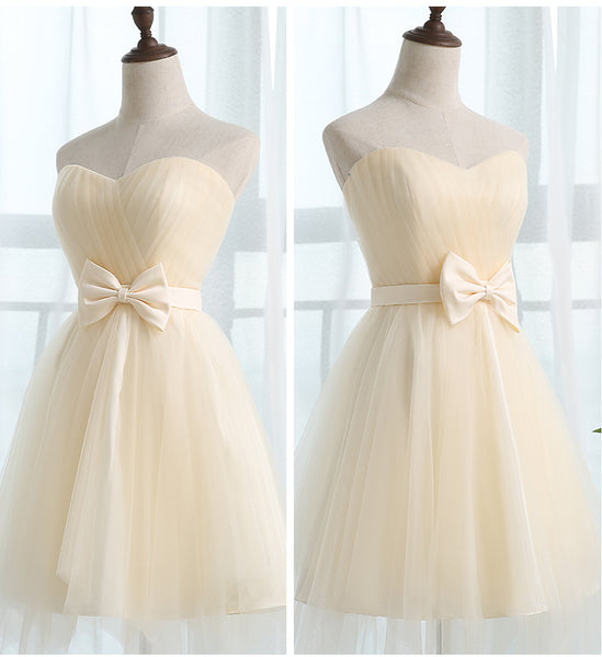 Cute Champagne A-line Short Knee Length Party Dress, Homecoming Dress