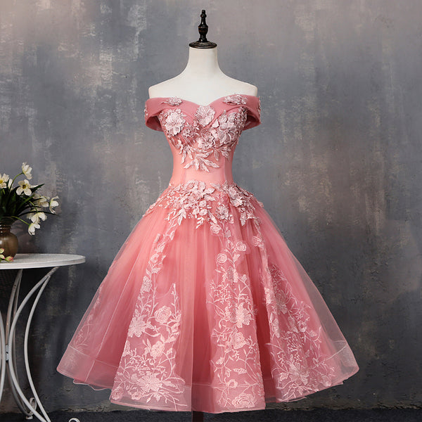Lovely Pink Tulle Floral Lace Applique Party Dress, Off Shoulder Homecoming Dress