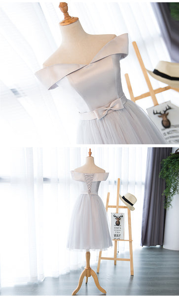 Light Grey Satin and Tulle New Style Party Dress, Charming Tulle Party Dresses 2019