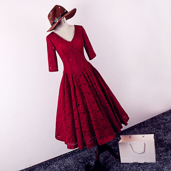 High Quality Burgundy Lace Wedding Party Dress, Tea Length Prom Dress