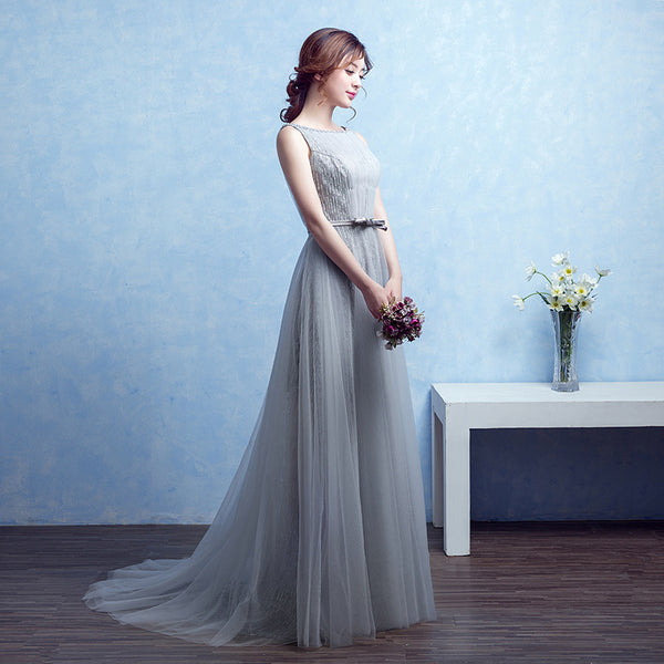 Grey Tulle Round Neckline Shiny Long Party Dress, Grey Formal Dress Party Dress
