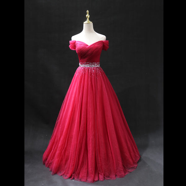 Elegant Red Off Shoulder Tulle Floor Length Prom Dress, Party Gown 2020