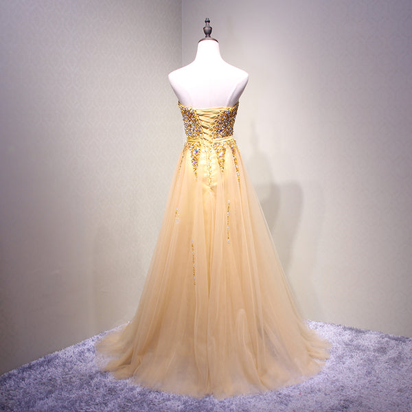 Stylish Light Yellow Sweetheart Beaded Long Formal Gown, Prom Dress 2019, Party Dress 2019