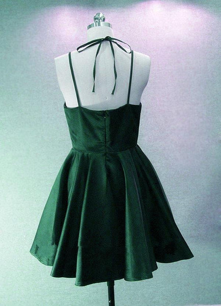 Adorable Green Halter V-neckline Short Junior Party Dress, Homecoming Dress 2019