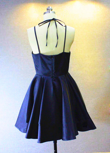 Cute Navy blue Straps Sweetheart Short Party Dress, Navy Blue Homecoming Dress