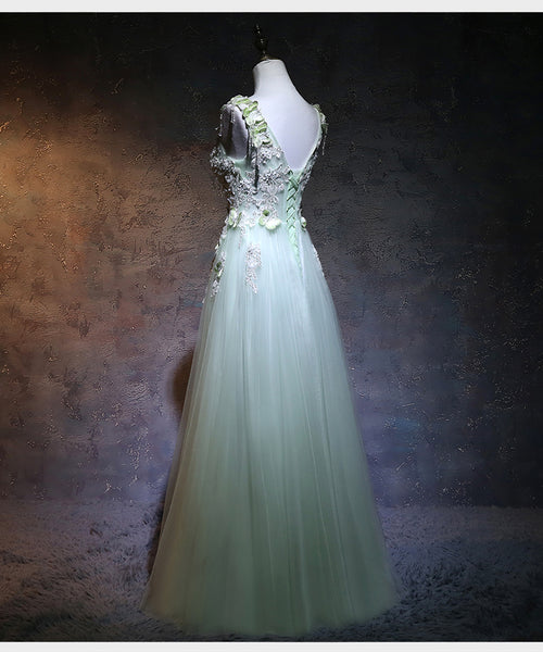 Beautiful Light Green Tulle Long Party Dress, A-line Prom Dress