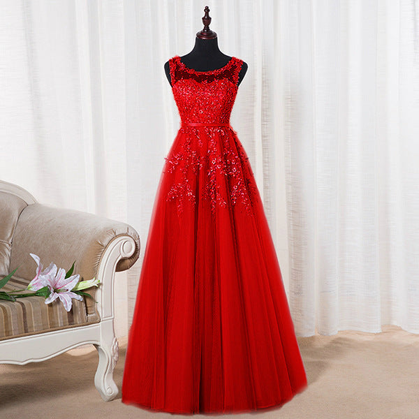 Lovely Round Neckline Tulle Long Prom Dress, Cute A-line Formal Dress