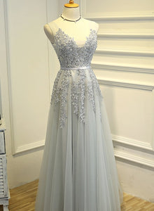 light grey long party dress